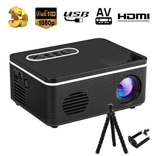 Mini Beamer, 2000 Lumen Heimkino Beamer, Support 1080P Full HD mit 50000 Stunden LED, kompatibel mit TV Stick, HDMI, SD, AV, VGA, USB, X-Box, Smartphone Projektor