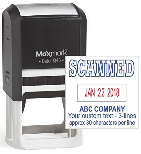 MaxMark Q43 (Large Size) Date Stamp with'Scanned' and Custom Text, Self Inking Stamp - 2 Color Blue/Red Ink