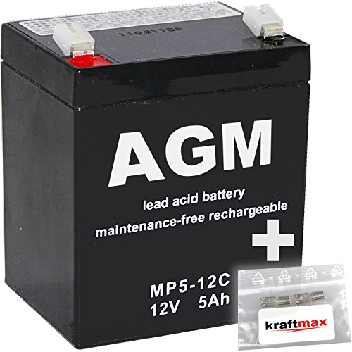 kraftmax 2X AGM 12V / 5Ah Blei-Akku - MP5-12C [ Faston 6,3 ] Zyklenfest inkl. 2X Original Anschluß-Adapter