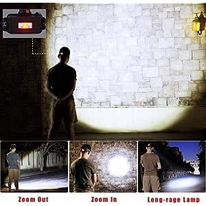 Cobiz Linterna Frontal Led, Linterna Led Alta Potencia 6000 Lúmenes 4 Tipos de Luz,la Batería 18650 XM-L T6 3 Led Luz Frontal para Camping Pesca Ciclismo