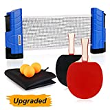 XGEAR Anywhere Ping Pong Equipment to-Go Includes Retractable Net Post, 2 Ping Pong Paddles, 3 pcs Balls, Attach to Any Table Surface, for All Ages, Lake Blue