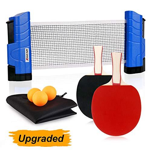 XGEAR Set da Ping Pong Professionale con Borsa per Il Trasporto Portatile - 1 Rete da Pingpong Regola + 2 Racchette a Doppia Faccia + 3 Palline per Allenatori, Amatori, Principianti, Esperti, Blu