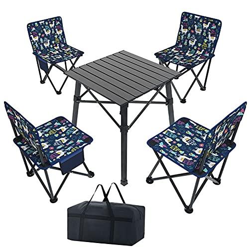 WDSWBEH Juego de sillas de Mesa de Camping, Juego de sillas de Mesa Plegable portátil para Exteriores con 1 Escritorio de Aluminio, 4 sillas Plegables, para Picnic, Playa, Viajes, Patio