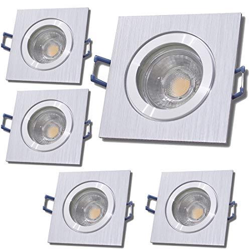 LED Bad Einbaustrahler 12V inkl. 5 x 5W LED LM Farbe BiColor IP44 LED Deckenspots Neptun Eckig 3000K Einbauleuchten