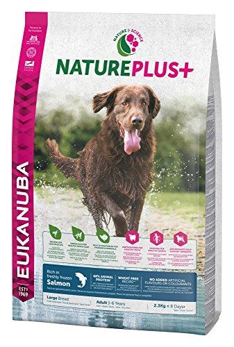 Eukanuba NaturePlus+ Hundefutter für große Rassen – Vollwertiges, natürliches Trockenfutter für ausgewachsene Hunde in der Geschmacksrichtung Lachs – 1 x 2,3kg Beutel