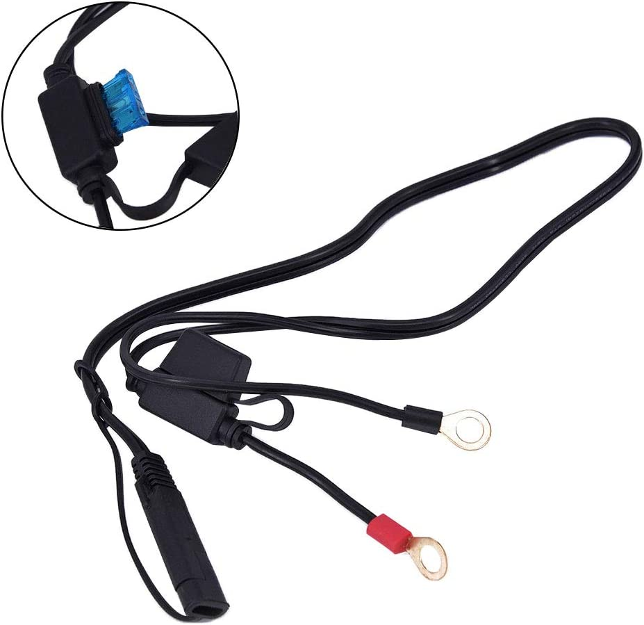 hudiemm0B Motorcycle Battery Charger Cable Motorcycle Motorbike Battery Terminal Clamp Wire 12V Charger Adapter Cable Plug