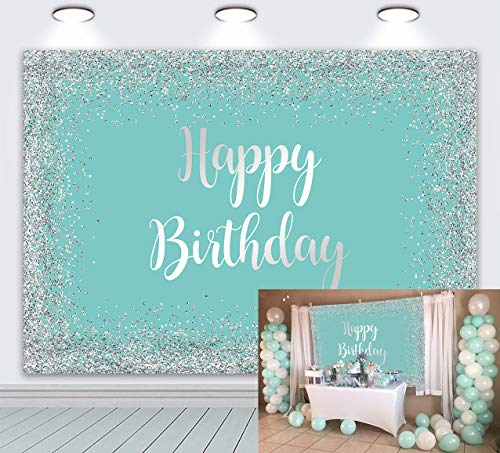 DANIU Tiffany Blue Happy Birthday Backdrop Baby Newborn 7x5ft Sweet Breakfast at Tiffany Party Dessert Cake Table Decorations Supplies Photo Booth Banner