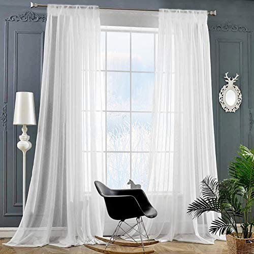 ZHUFUREN Rod Pocket Sheer Curtains Window Voile Treatment Panels for Bedroom/Living Room Drapes Semi Transparent Poly Linen Textured Elegance White Curtains Set of 2 Panels (54' W x 95' L, Bleached)