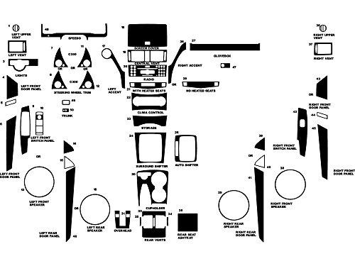 Rvinyl Rdash Dash Kit Decal Trim for Mercedes-Benz C-Class 2008-2011 - Carbon Fiber 4D (Black)