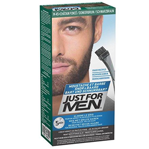Just for Men Bart und Schnurrbart Farbgel zum Einbürsten, beseitigt graue Haare, macht grobe Gesichtsbehaarung weich und geschmeidig, M45 – Schwarzbraun