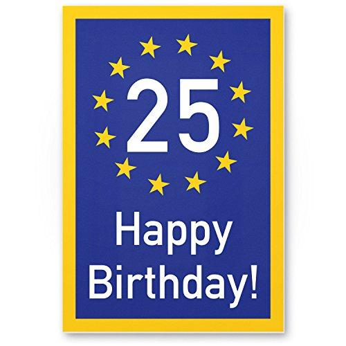 Bedankt! 25 jaar Happy Birthday - kunststof bord, cadeau 25. Verjaardag, cadeau-idee verjaardagscadeau vijfentige, verjaardagsdeco/feestdecoratie/feestaccessoires/verjaardagskaart