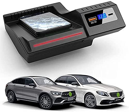 Panel de Accesorios de La Consola Central AutomóVil Cargador InaláMbrico, para Mercedes-Benz C-Class GLC 2020 2019 2018 2017 2016, Qi Smartcarga InduccióN RáPida Almohadilla para iPhone Samsung