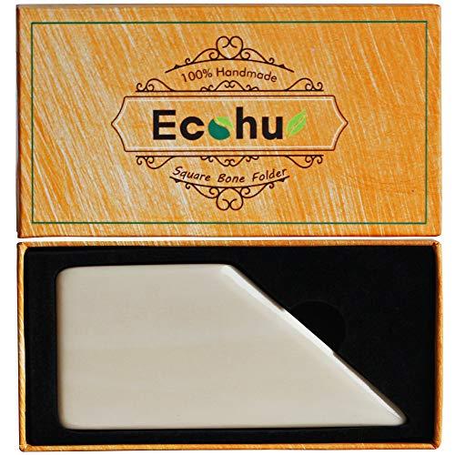 ECOHU Square Bone Folder - Genuine Bone, Paper & Leather Crafts, Card Making, Origami, Bookbinding, Scrapbooking, Non-Scratch, Non-Stick