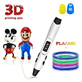 3D Pen,3D Printer Pen with LED Display,USB Charging,Temperature Control & Speed Printing Control,Support