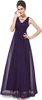 Double V-Neck Elegant Ruched Waist Ladies Long Evening Dress 08110
