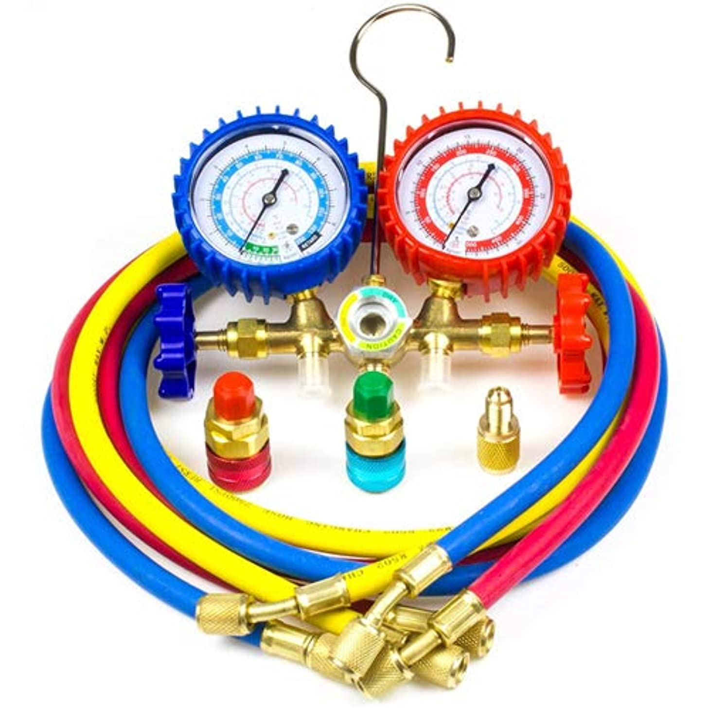 Ziss A/C Diagnostic Manifold Gauge Set for Refrigeration Charging, Fits R12 R22 R134a R502 Refrigerants with Couples, 5FT Hoses, Straight Adapter