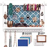Bdot Hanging Jewelry Organizer Wall Mounted – White Wooden Jewelry Hanger,Necklace Holder,Earring Organizer,Bracelet Holder