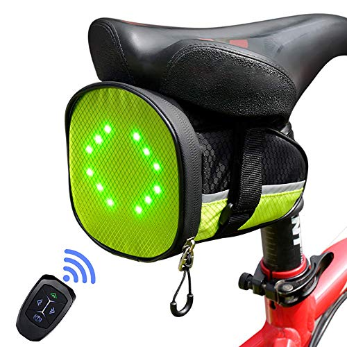 ECEEN LED Cycling Saddle Bag Bicycle Under Seat Bag with Reflective Turn Signal Direction Indicator Light & Wireless Remote Control Durable Rechargeable Lightweight Waterproof for Safe Riding (Green)
