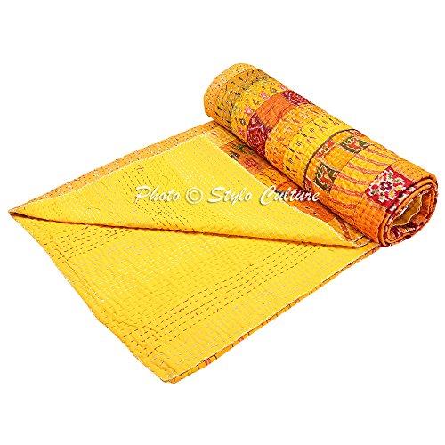 Stylo Culture Indische Tagesdecke Schlafzimmer Kantha Gesteppte Tagesdecke Double Yellow Patola Seide Patchwork Reversible ethnischen Vintage Bettwäsche Bettdecke