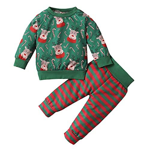 Kleinkind Baby Mädchen Herbst Winter Kleidung Set Langarm Weihnachten Elch Langarmshirts T-Shirt Sweatshirt Pullover Tops + Hosen Sporthosen Trainingsanzug Outfits Sweatsuit Sets (Grün, 12-18 Months)