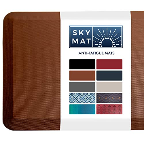 Sky Solutions Anti Fatigue Mat - Cushioned Comfort Floor Mats for Kitchen, Office & Garage - Padded Pad for Office - Non Slip Foam Cushion for Standing Desk (20x39x3/4-Inch, Chocolate Brown)