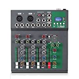 N&W Audio Mixer 4-Channel Mixing Console Supports BT Connection Reverb with USB Audio Interface Easy Monitoring and Operation (Color : Black Size : One Size)