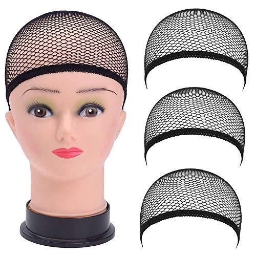 3 Stück Perücke Kappen Caps Nylon Haarnetz Dehnbare, Perückekappe Schwarz Mesh, Elastische Netz By Vovotrade (4pc, schwarz) (schwarz)