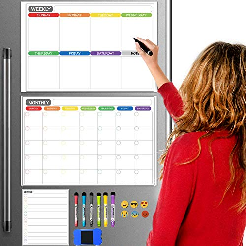 Dry Erase Calendar Whiteboard. Set of 3 Magnetic Calendars for Refrigerator, Monthly, Weekly Organizer & Daily Notepad. Wall & Fridge Family Calendar. 6 Markers