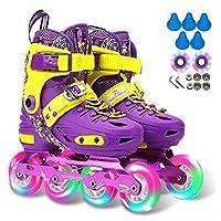 子供用の調整可能なインラインスケート、男の子と女の子用の点滅する照明ローラースケート、軽量ローラーブレード、初心者に最適、C、S(10.5‐12.5UK / 28‐31EU)