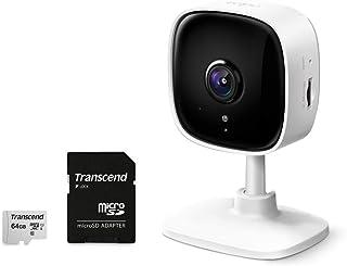 TP-Link WiFi カメラ ナイトビジョン 動作検知 双方向通話 Tapo C100 + Transcend 64GB microSDカード