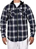 ZENTHACE Mens Thermal Fleece Lined Zip Up Hoodie Plaid Flannel Shirt Jacket Navy/White XXL