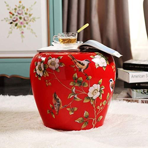 LQJYXD Schoenkruk Bloemen en Vogels Porseleinen Kruk Verander Keramische Drumkruk Villa Woonkamer Creatieve Decoratie (kleur : A)