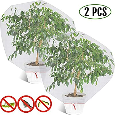 Shappy 2 Pieces Bird Barrier Netting Mesh Plant Cover Nylon Netting Garden Plant Barrier Bag Plant Protect Bags with Drawstring for Vegetables Fruits Flower from Bird Squirrels (4.59 x 3.4 ft)