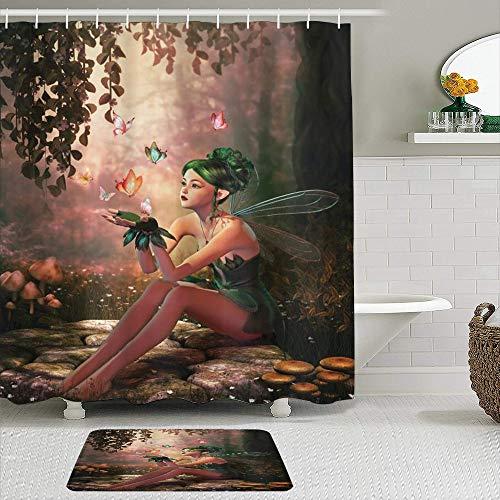 KISSENSU Cortinas con Ganchos,Chica de Hadas con alas y Mariposas gráficos Criatura élfica,Cortina de Ducha Alfombra de baño Bañera Accesorios Baño Moderno