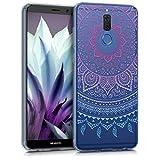 kwmobile Funda Compatible con Huawei Mate 10 Lite - Carcasa de TPU y Sol hindú en Azul/Rosa Fucsia/Transparente