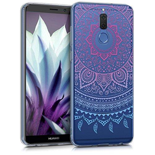 kwmobile Hülle kompatibel mit Huawei Mate 10 Lite - Handyhülle - Handy Hülle Indische Sonne Blau Pink Transparent