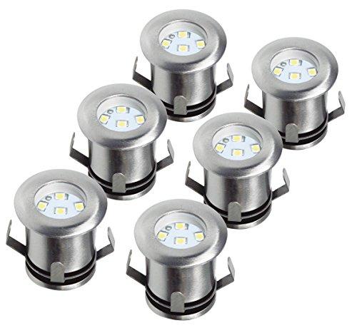 Ranex 5000.475 LED Bodeneinbaustrahler für Außen - 6er-Set, befahrbar, bis zu 1.250 kg belastbar, 12 V Niedervolt (inkl. Netzteil), 12 m Kabel, rund