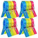 JABINCO Beach Towel Clips Chair Clips Towel Holder: Plastic Clothes Pegs Hanging Clip Clamps (Pack of 16)