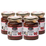 Salsa de pesto rojo con trufa negra, chile, tomates secos al sol, Pesto gourmet con trufa, sabor tradicional italiano en salsa cremosa de pasta con aceite de oliva, Pesto Rosso con Tartufo (5 x 80g)