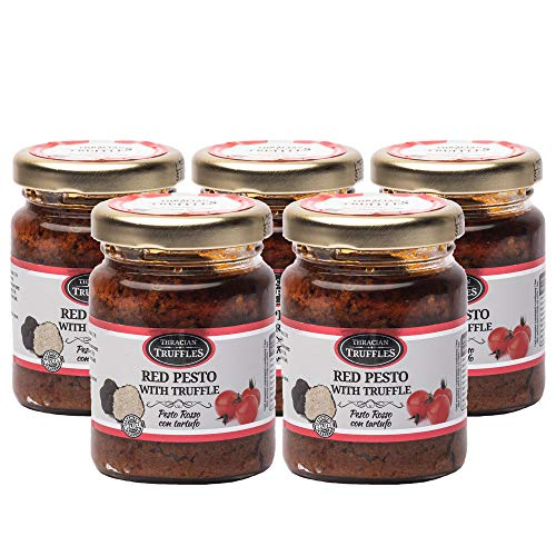 Red pesto Sauce with Black Truffle, Chilli Pepper, Sun-Dried Tomatoes, Gourmet Pesto with Truffle, Traditional Italian Taste in a Creamy Pasta Sauce with Olive Oil, Pesto Rosso con Tartufo (5 x 80g)