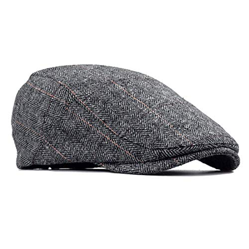 besbomig Piatto Berretto da Uomo Newsboy Flat cap - in Tweed Invernale Irish Winter Coppola Cappello