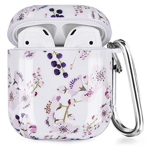 VIGOSS Compatible with Airpods Case Women Floral Print Protective Cover Hard Cases Accessories Set for Apple AirPods 2 & 1 (Blueberry)