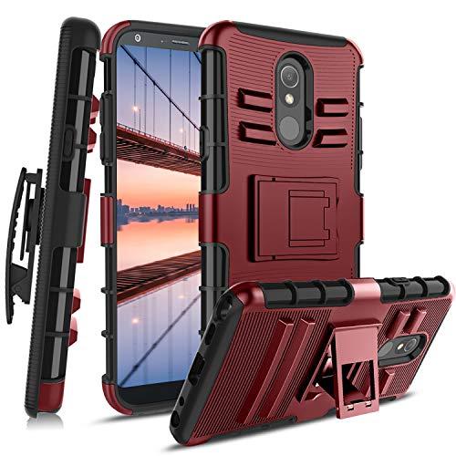 CaseTank for LG Stylo 5 Case, LG Stylo 5 Plus, Lg Stylo 5V, LG Stylo 5X, LG Stylo 5 + Case W [Screen Protector] Built-in Kickstand Swivel Combo Holster Belt Clip Shockproof Armor, PC-Red