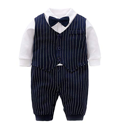 Fairy Baby Infant Tuxedo Baptism Outfits Formal Boys Dress Clothes Baby Suit 6-9 Months, Navy Blue Stripe