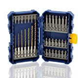 COMOWARE Impact Screwdriver Bit Set with Titanium Drill Bits - Quick Release Twist Drill B...