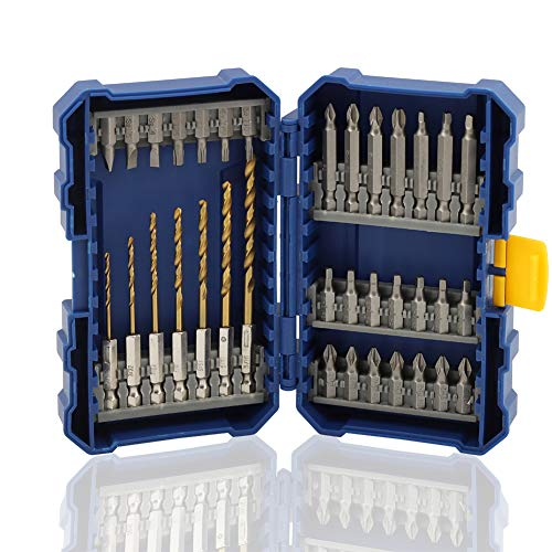 COMOWARE Impact Screwdriver Bit Set with Titanium Drill Bits - Quick Release Twist Drill Bit Set with Tough Case, Impact Driver Bit Set Total 35Pcs