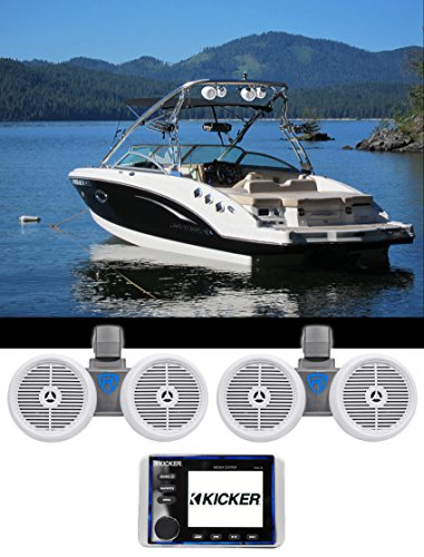 "KICKER KMC20 Marine Bluetooth Receiver 4 Boat/ATV/UTV+2 Dual 6.5"" Wakeboards"
