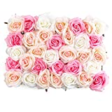 Flowers Wall Decor 3D Pink Flower Wall Panel Silk Rose Flowers for Wedding Backdrop, Bridal Shower, Baby Girls Room, Nursery, Rose Wall Decor, Pink Room Décor (Premium Silk Rose Flowers)