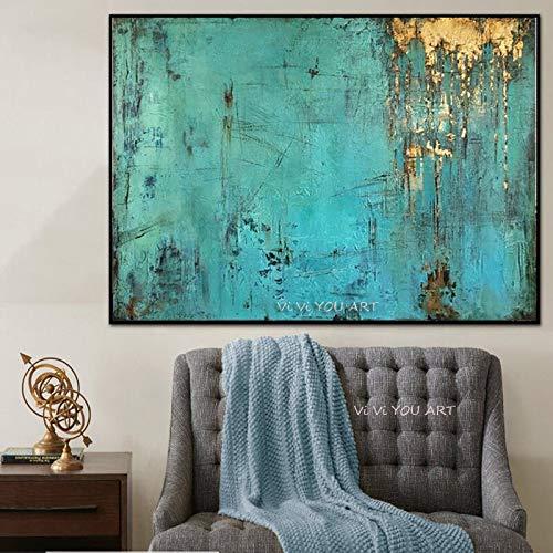 wZUN Moda Pintura Abstracta Lienzo Arte Pintura al óleo Azul Turquesa decoración del hogar Cuadro de Arte de Pared 60x90 Sin Marco