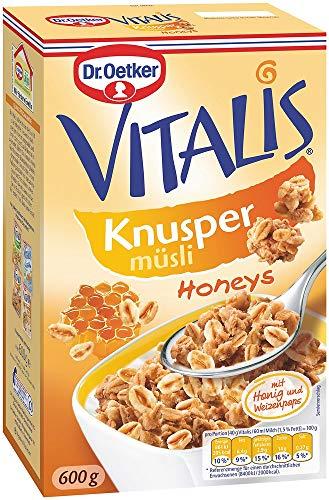 Dr. Oetker Vitalis Knusper Honeys, Knuspermüsli mit Honig, für Frühstück und Zwischendurch, 5er Packung (5 x 600g)